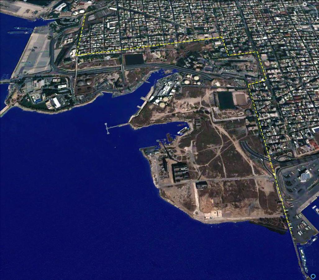 Αεροφωτογραφία της περιοχής που πρόκειται να αναπλασθεί.
