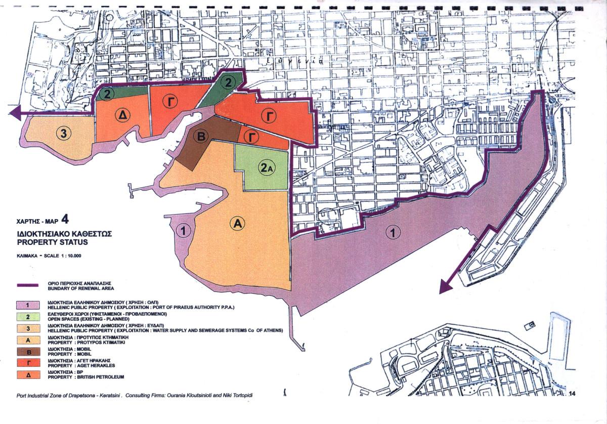Το τοπογραφικό σχέδιο της περιοχής. Με διαφορετικά χρώματα προσδιορίζεται το ιδιοκτησιακό καθεστώς .