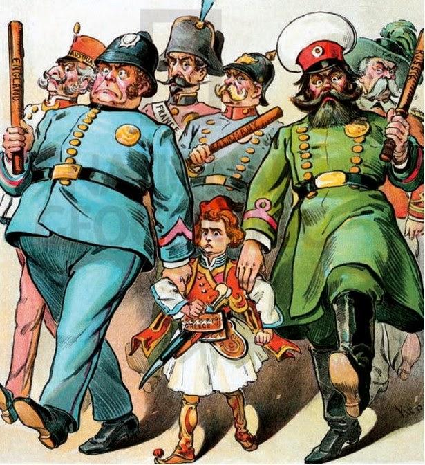Γελοιογραφία εποχής για τον Διεθνή Οικονομικό Έλεγχο στην Ελλάδα.